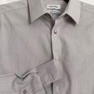 Gray/White Stripes Dress Shirt by Calvin Klein